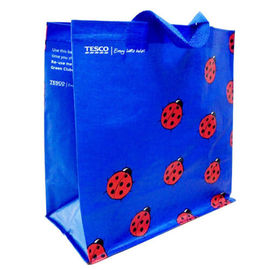 China Woven Polypropylene Tote Bags for Supermarket , Blue Custom Printed Totes supplier