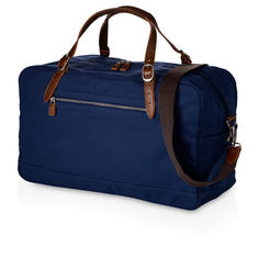 China Dark Blue Fabric Travel Duffle Bags , Duffle Overnight Bag With Outside Pocket supplier