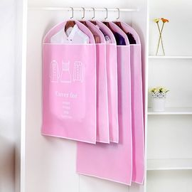 China Pink Non - Woven Hanging Garment Bags Dustproof With Long Zipper Closure supplier