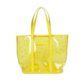 Yellow Clear PVC Tote Bag with Emboss Logo , Women Transparent Shoulder Bags