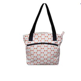 Women Nylon Zippered Shoulder Tote Bags With Leather Handle OEM
