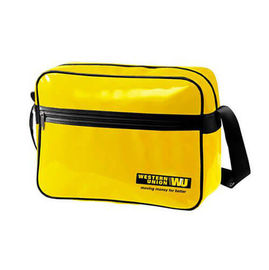 Durable Custom Messenger Bags , Yellow PVC Shoulder Sling Bag with Cardboard Bottom