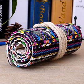 Roll - Up Canvas Student Pencil Pouches , Pencil Roll Case Cotton Rope Closure