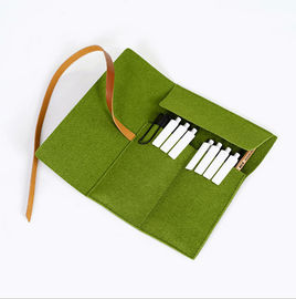 Felt Pencil Organizer Pouch/Zipper Pouch Grass Green Durable For Students